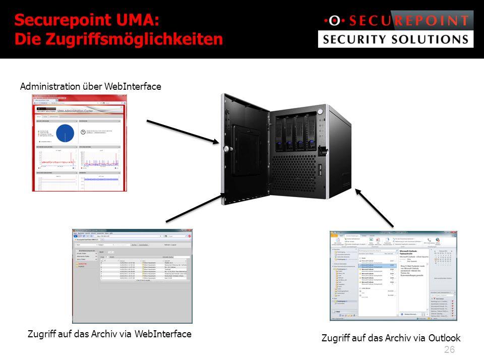 Securepoint UMA: Die Zugriffsmöglichkeiten