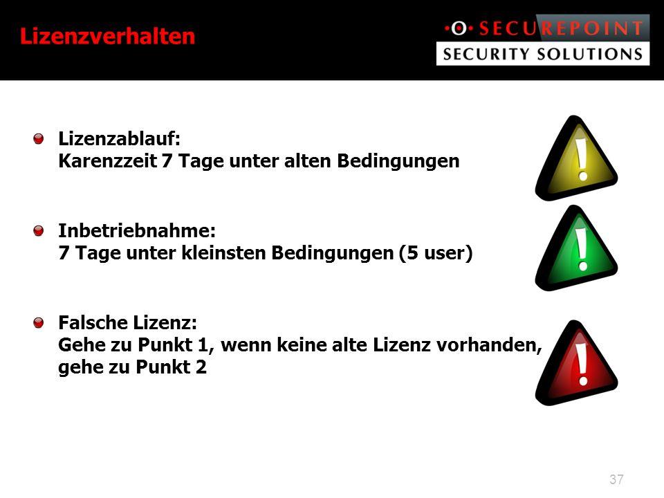 Lizenzverhalten Lizenzablauf: Karenzzeit 7 Tage unter alten Bedingungen. Inbetriebnahme: 7 Tage unter kleinsten Bedingungen (5 user)