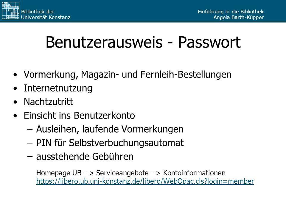 Benutzerausweis - Passwort