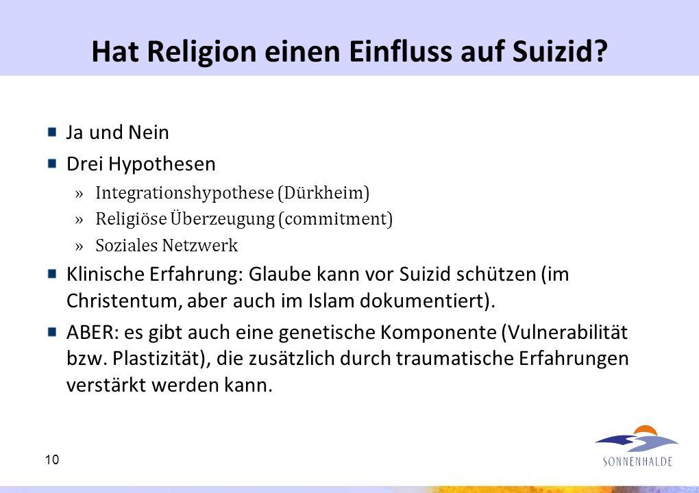 Hat Religion einen Einfluss auf Suizid