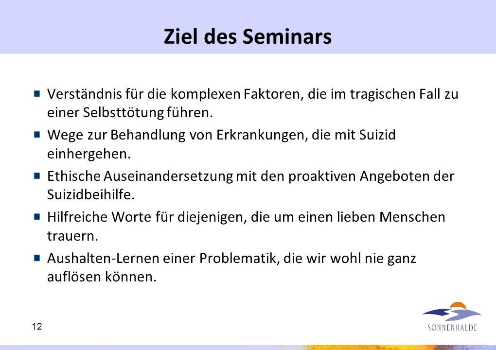 Ziel des Seminars Verständnis für die komplexen Faktoren, die im tragischen Fall zu einer Selbsttötung führen.