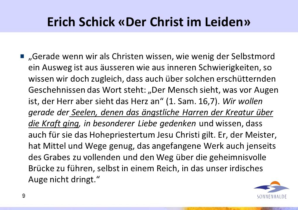 Erich Schick «Der Christ im Leiden»