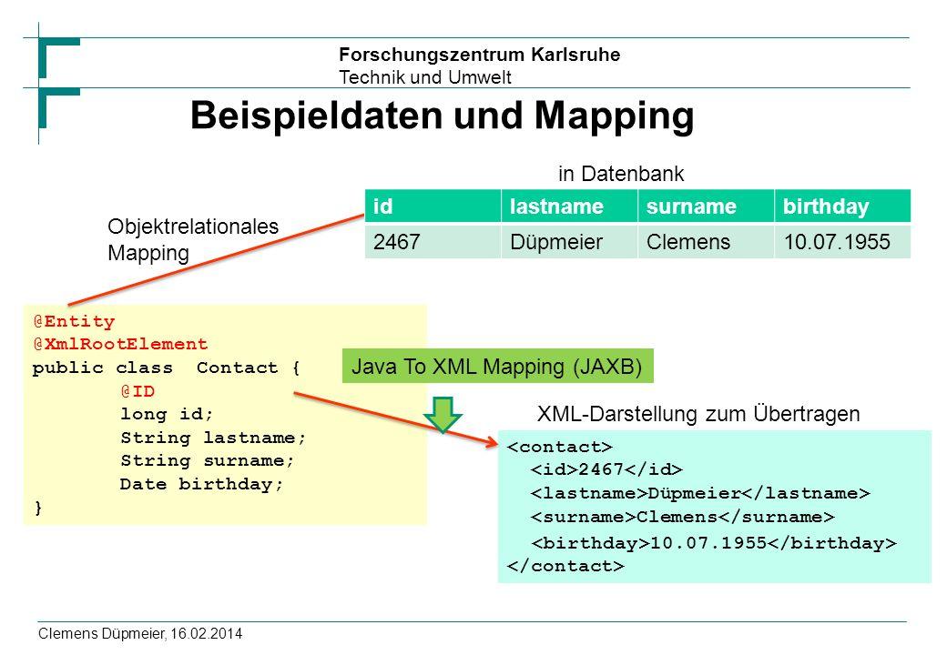 Beispieldaten und Mapping