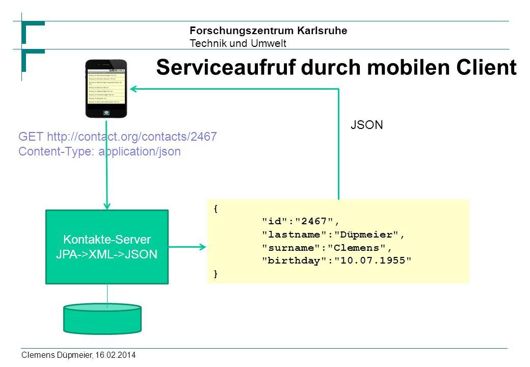 Serviceaufruf durch mobilen Client