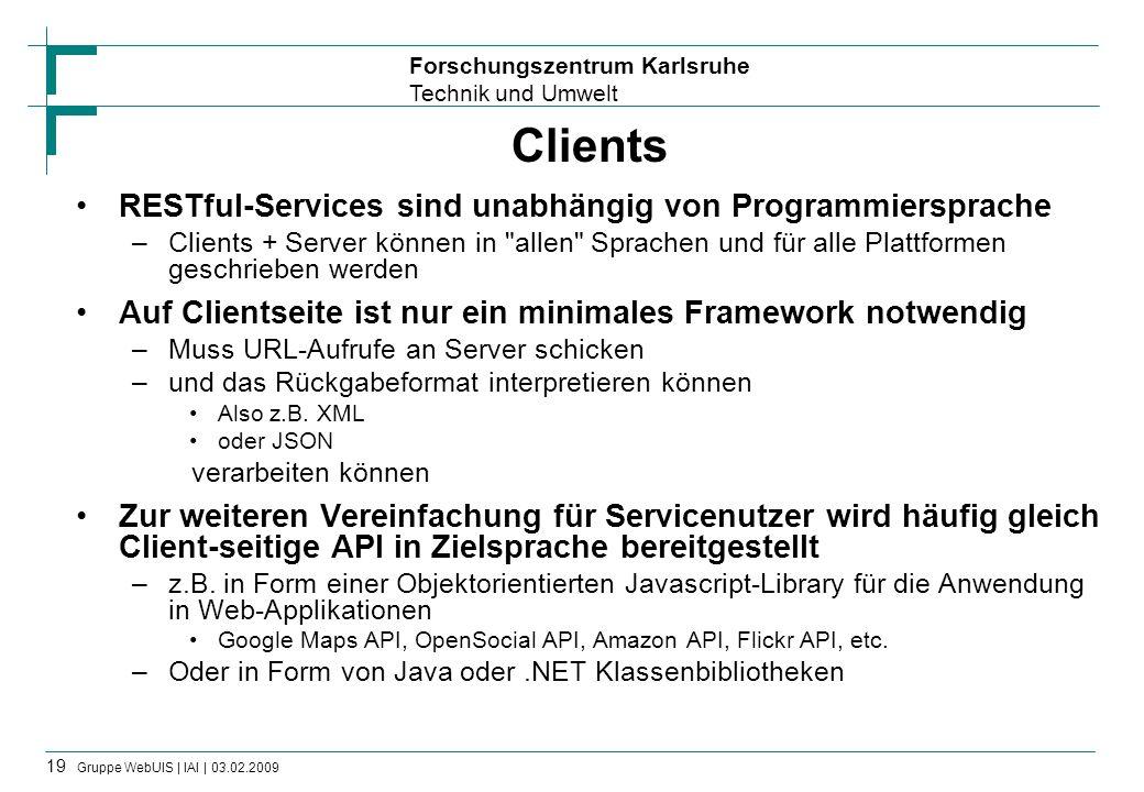 Clients RESTful-Services sind unabhängig von Programmiersprache