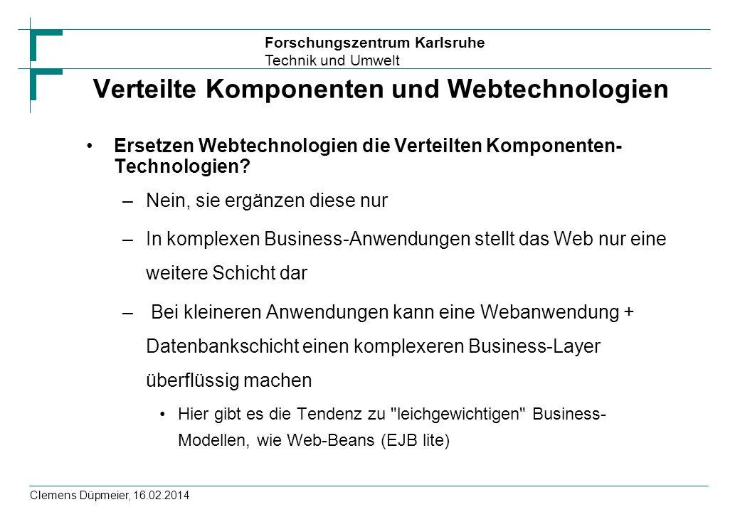 Verteilte Komponenten und Webtechnologien
