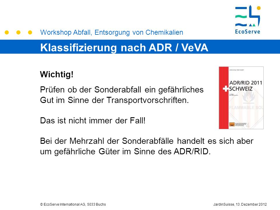 Klassifizierung nach ADR / VeVA