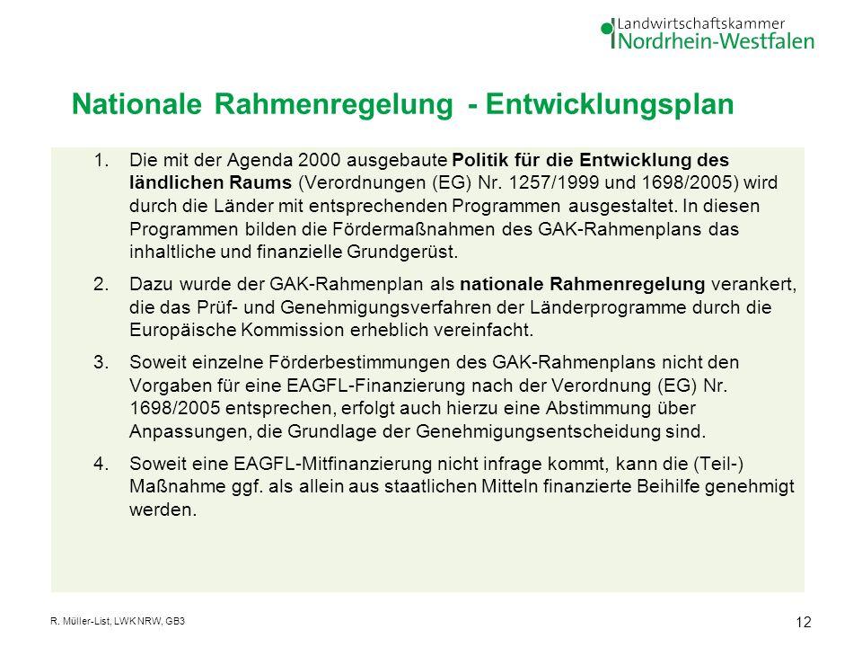 Nationale Rahmenregelung - Entwicklungsplan