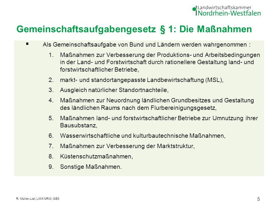 Gemeinschaftsaufgabengesetz § 1: Die Maßnahmen