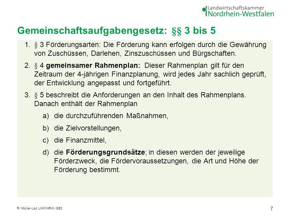 Gemeinschaftsaufgabengesetz: §§ 3 bis 5