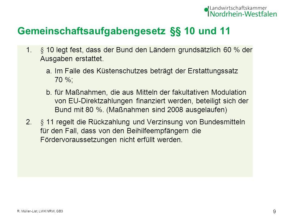 Gemeinschaftsaufgabengesetz §§ 10 und 11