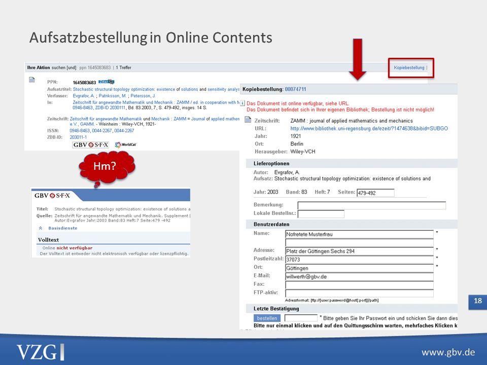 Aufsatzbestellung in Online Contents
