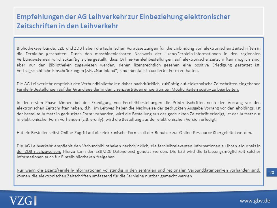 Empfehlungen der AG Leihverkehr zur Einbeziehung elektronischer Zeitschriften in den Leihverkehr
