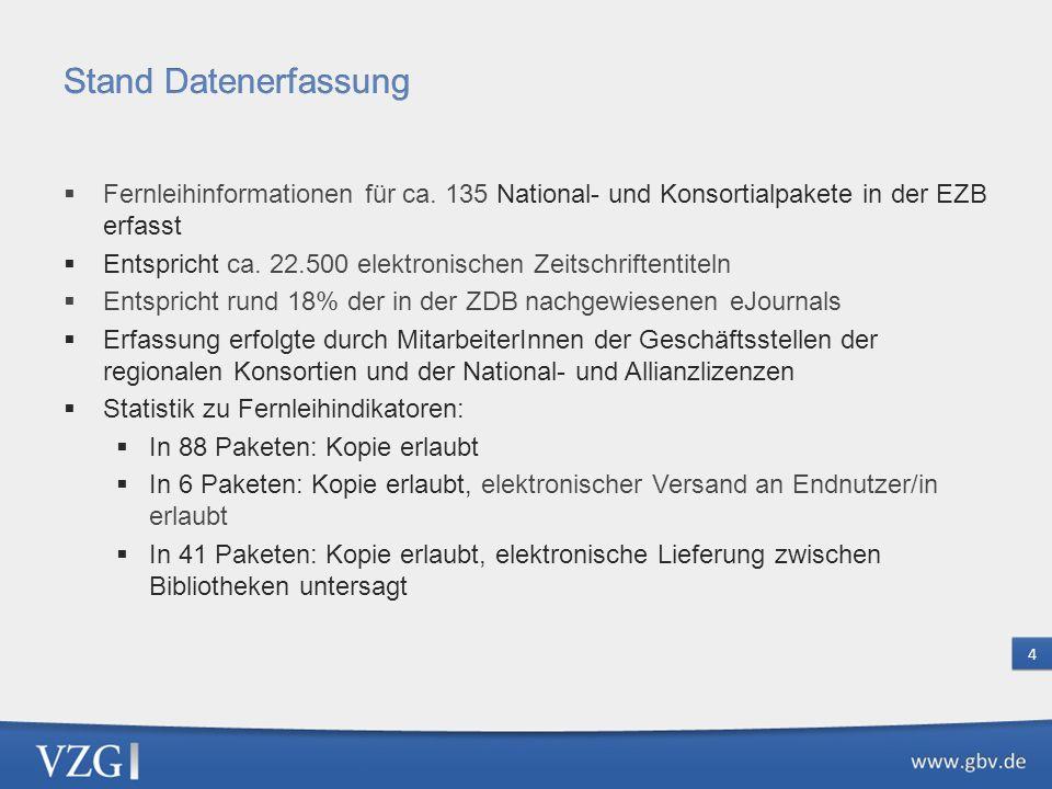 Stand Datenerfassung Fernleihinformationen für ca. 135 National- und Konsortialpakete in der EZB erfasst.