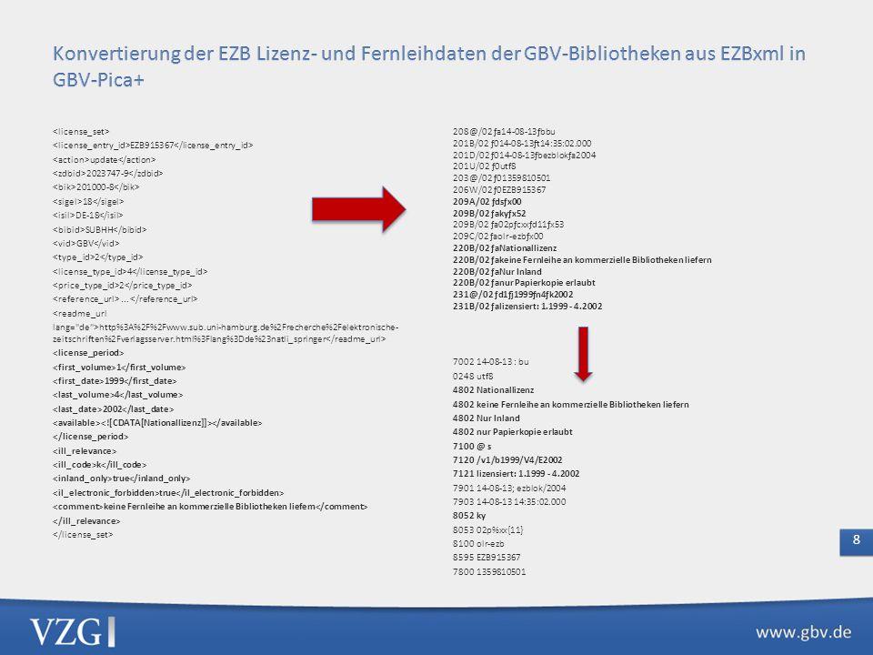 Konvertierung der EZB Lizenz- und Fernleihdaten der GBV-Bibliotheken aus EZBxml in GBV-Pica+