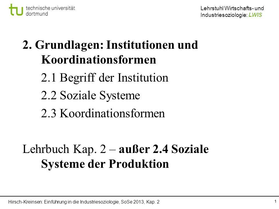 2. Grundlagen: Institutionen und Koordinationsformen