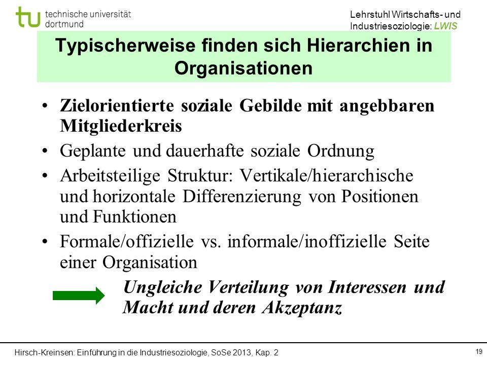 Typischerweise finden sich Hierarchien in Organisationen