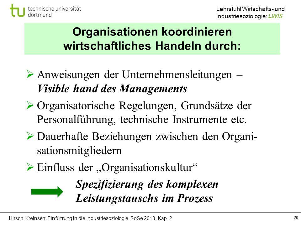 Organisationen koordinieren wirtschaftliches Handeln durch: