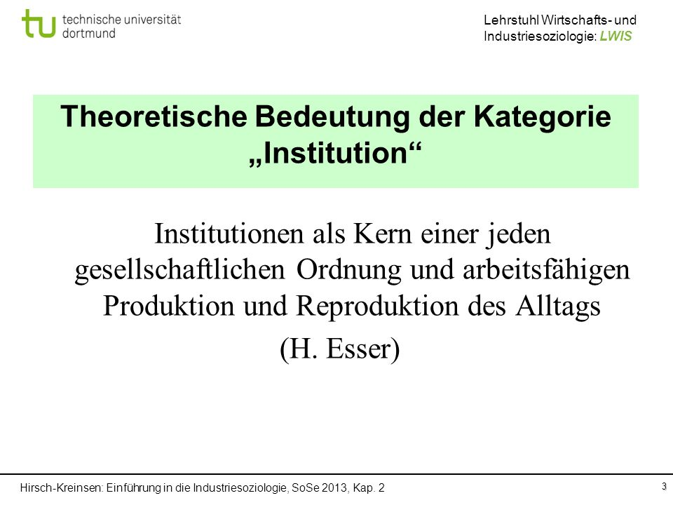 """Theoretische Bedeutung der Kategorie """"Institution"""