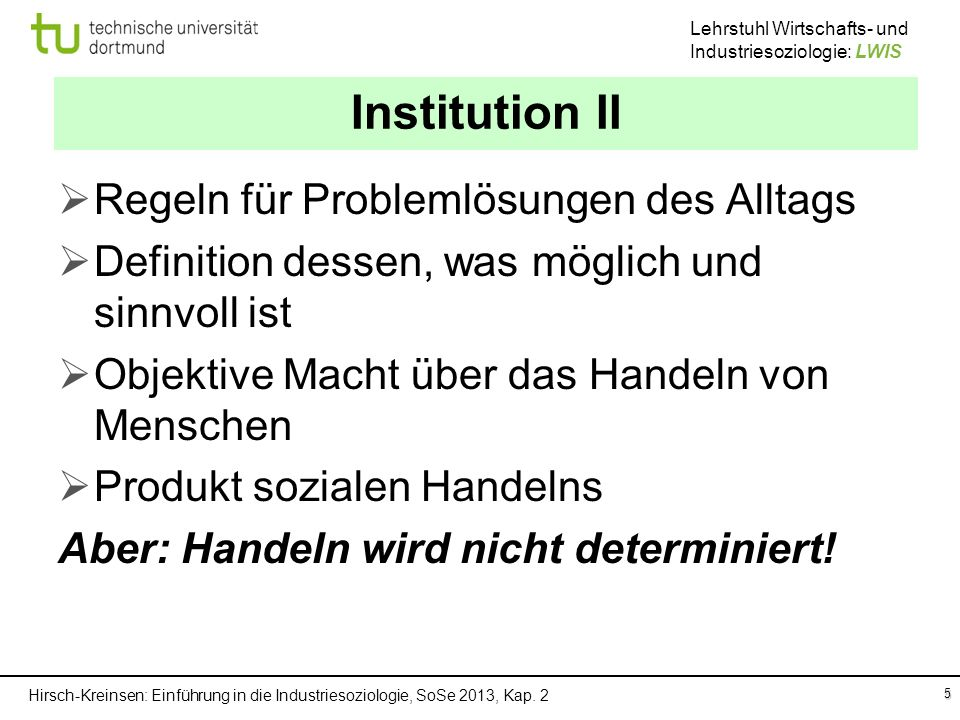 Institution II Regeln für Problemlösungen des Alltags