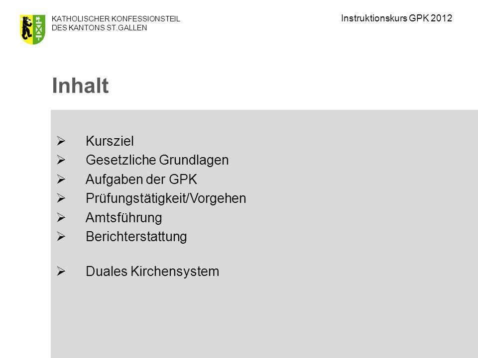 Inhalt Kursziel Gesetzliche Grundlagen Aufgaben der GPK