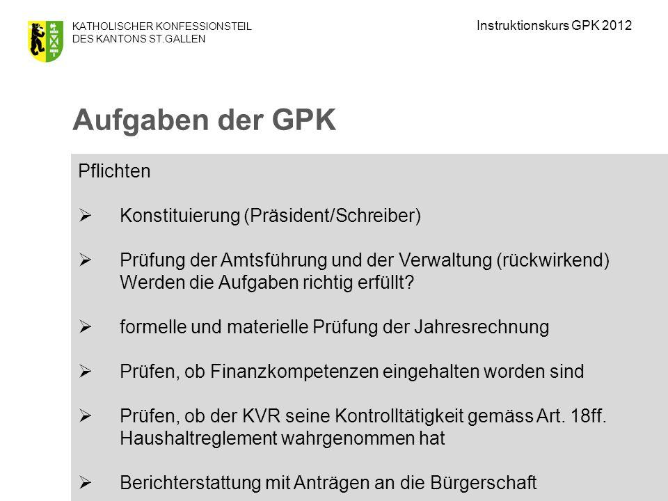 Aufgaben der GPK Pflichten Konstituierung (Präsident/Schreiber)
