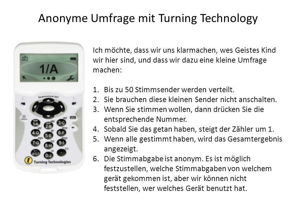 Anonyme Umfrage mit Turning Technology