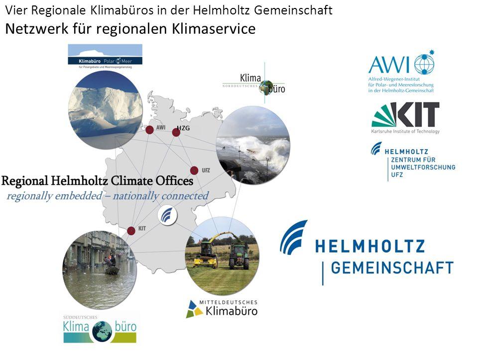 Vier Regionale Klimabüros in der Helmholtz Gemeinschaft Netzwerk für regionalen Klimaservice