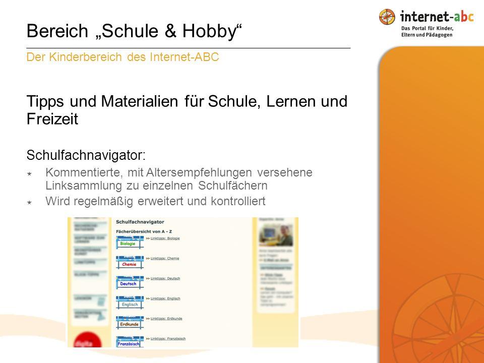 """Bereich """"Schule & Hobby"""