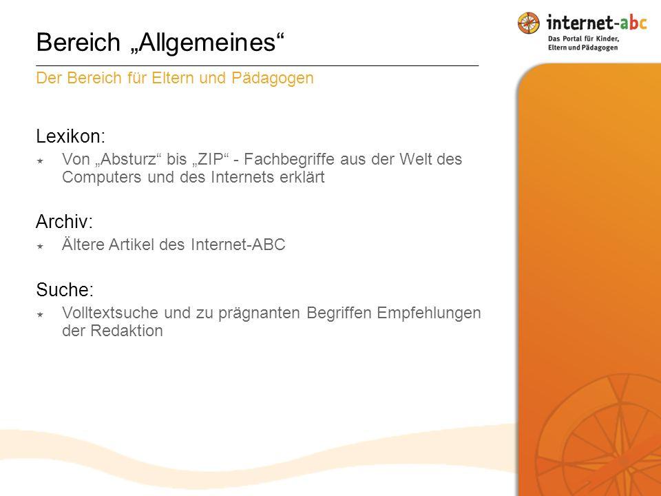 """Bereich """"Allgemeines"""
