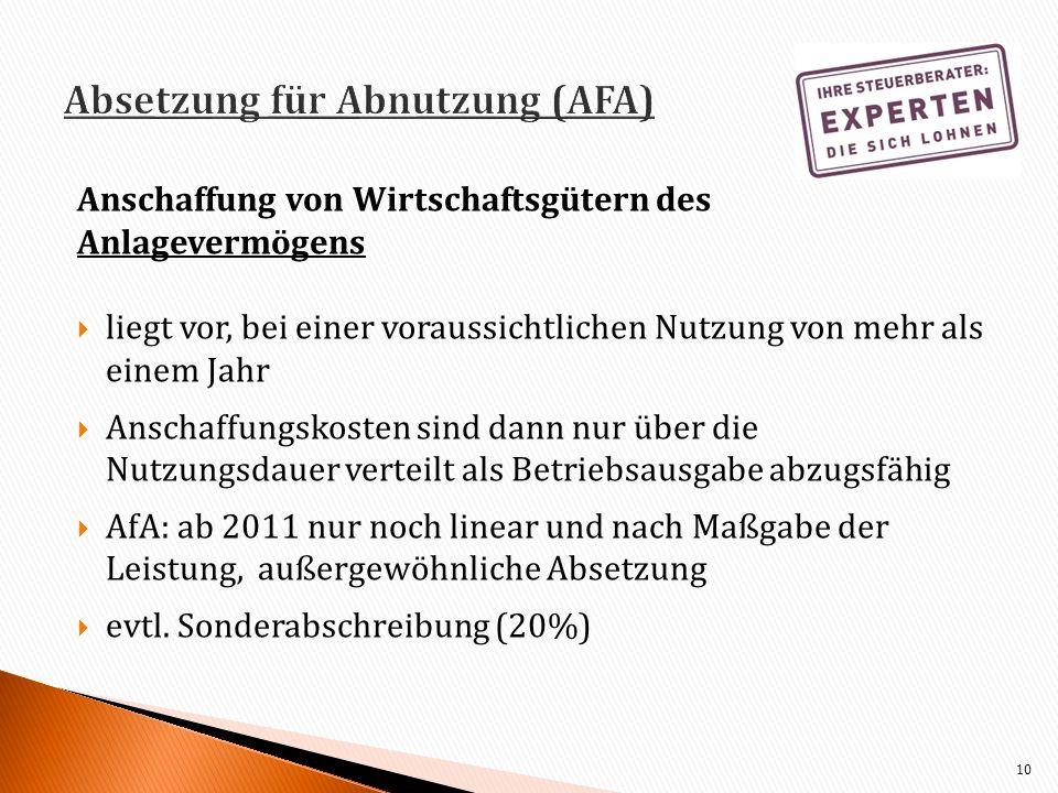 Absetzung für Abnutzung (AFA)