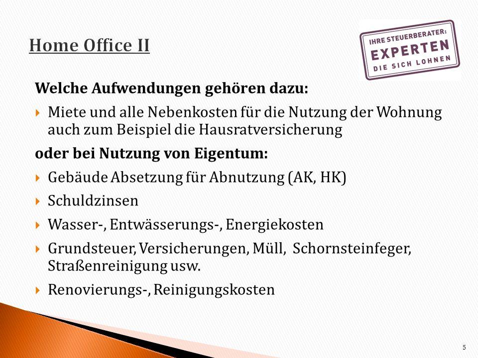 Home Office II Welche Aufwendungen gehören dazu: