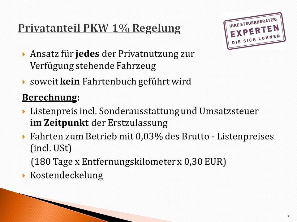 Privatanteil PKW 1% Regelung