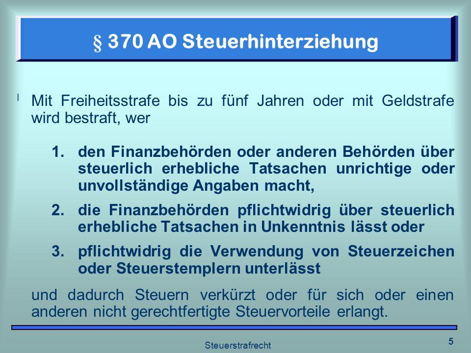 § 370 AO Steuerhinterziehung