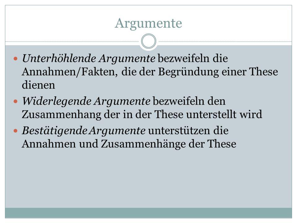 Argumente Unterhöhlende Argumente bezweifeln die Annahmen/Fakten, die der Begründung einer These dienen.