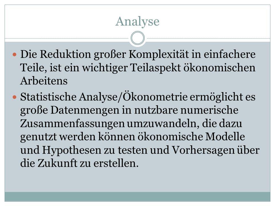 Analyse Die Reduktion großer Komplexität in einfachere Teile, ist ein wichtiger Teilaspekt ökonomischen Arbeitens.