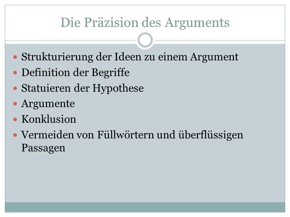 Die Präzision des Arguments
