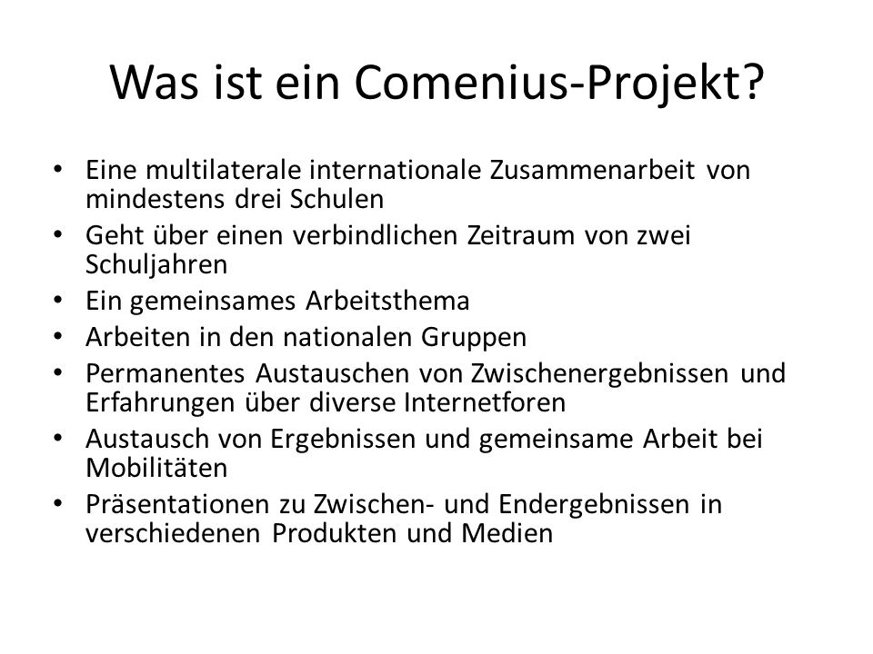 Was ist ein Comenius-Projekt