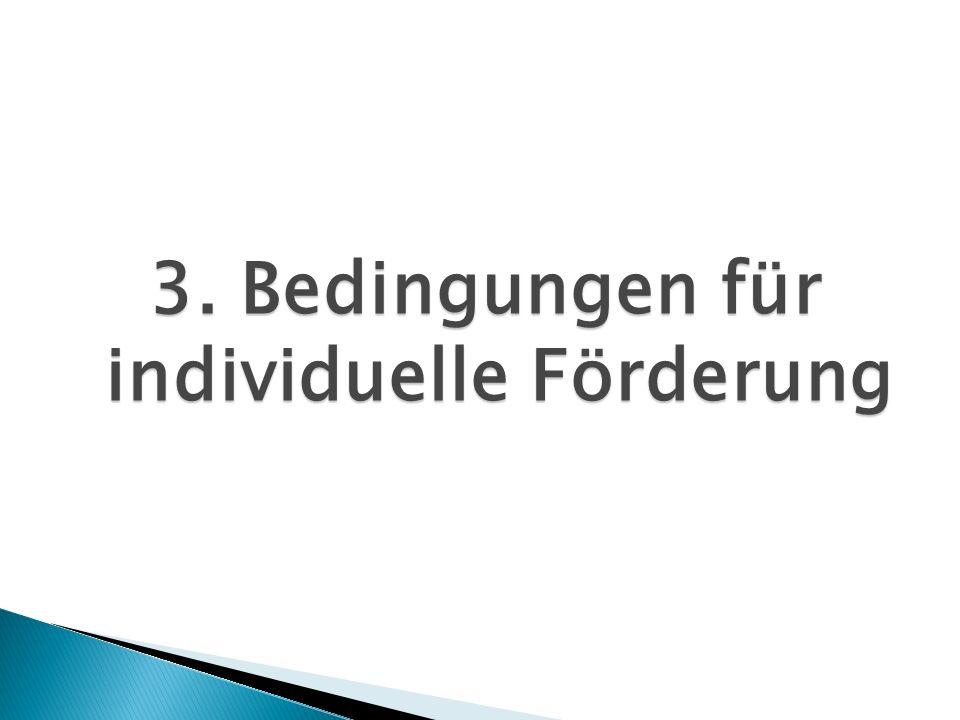 3. Bedingungen für individuelle Förderung