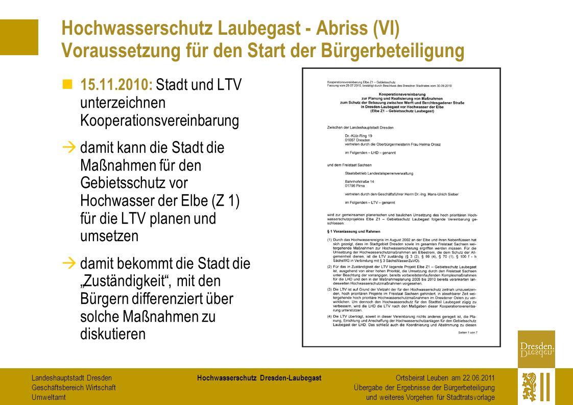 Hochwasserschutz Laubegast - Abriss (VI) Voraussetzung für den Start der Bürgerbeteiligung