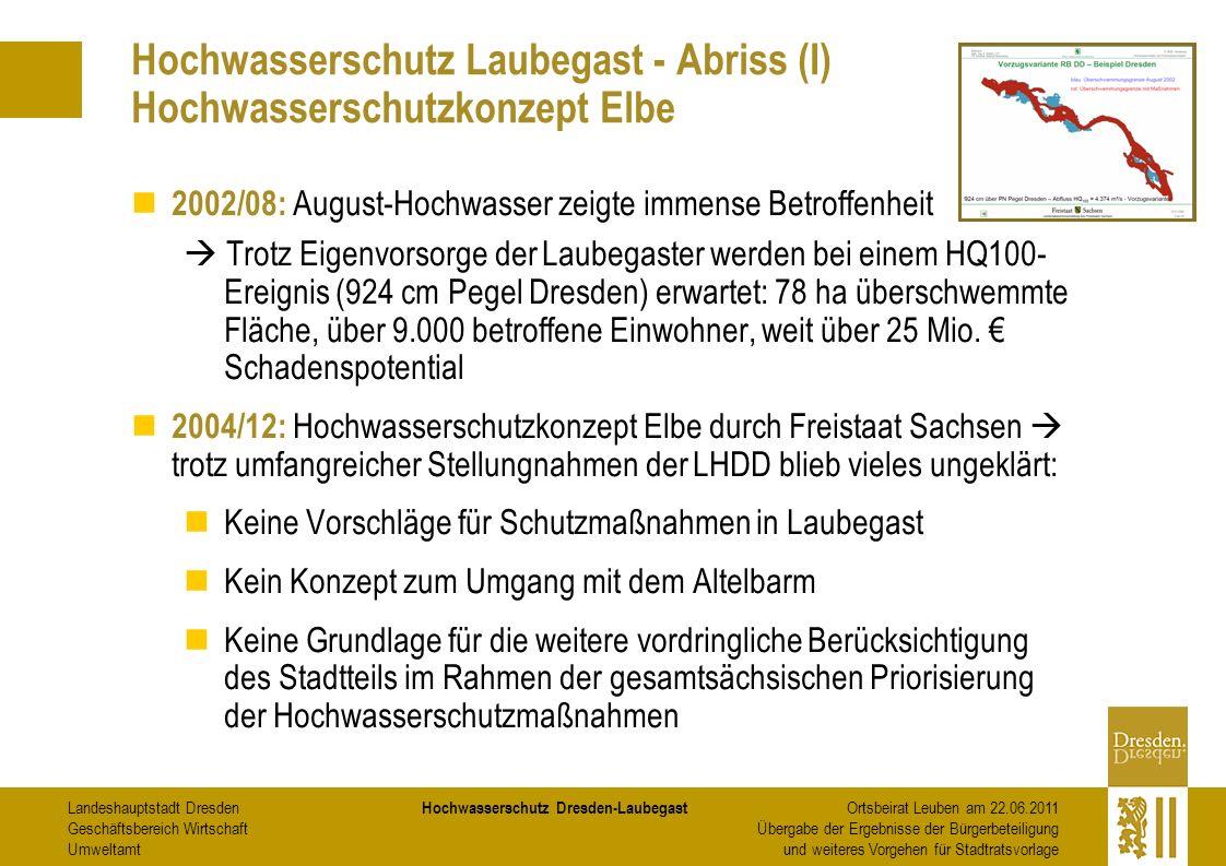 Hochwasserschutz Laubegast - Abriss (I) Hochwasserschutzkonzept Elbe