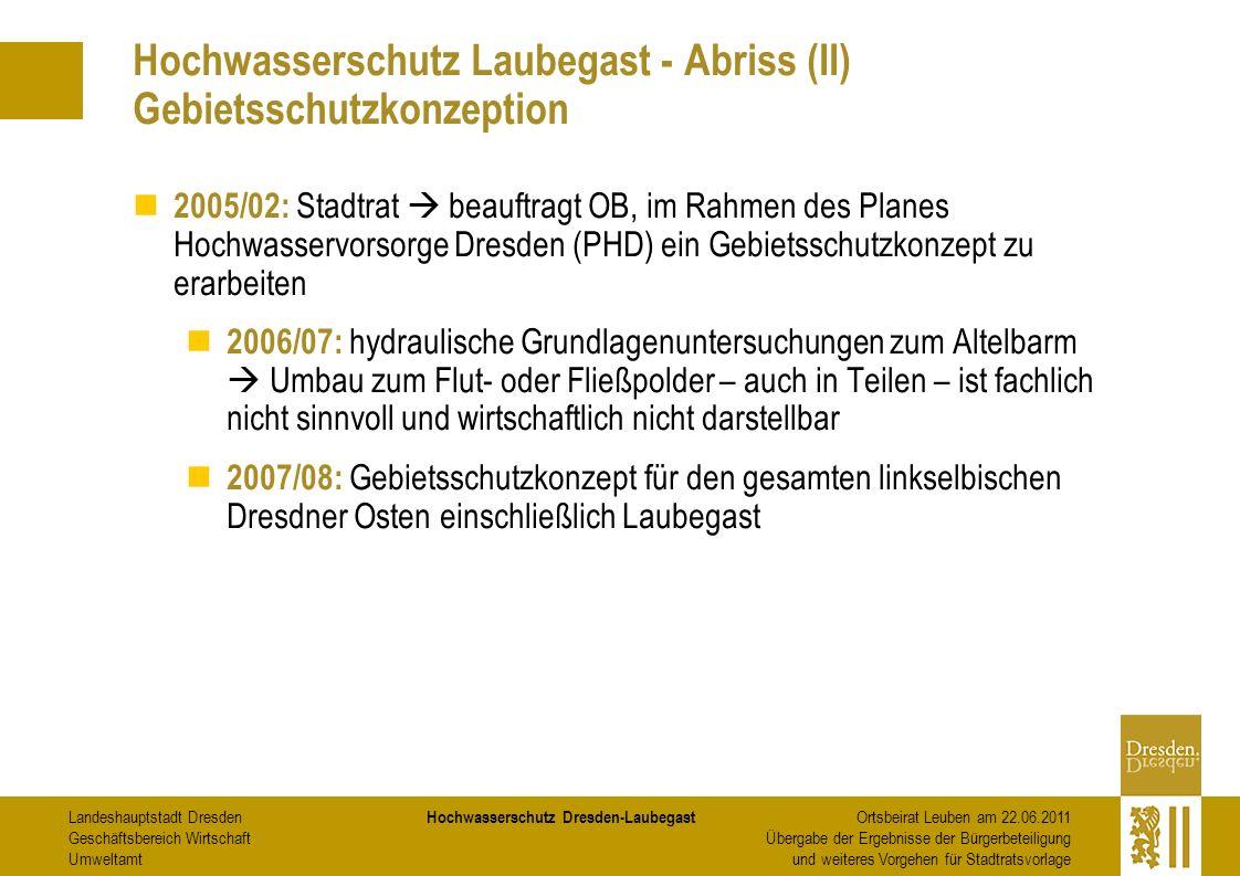 Hochwasserschutz Laubegast - Abriss (II) Gebietsschutzkonzeption