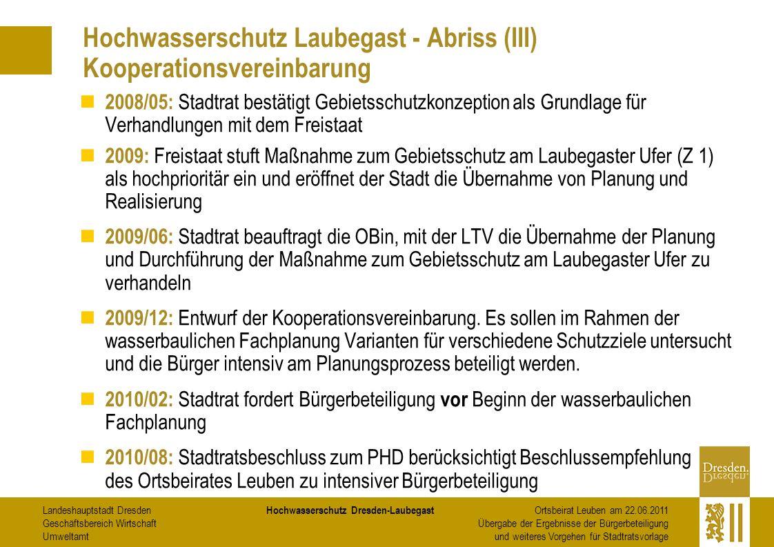 Hochwasserschutz Laubegast - Abriss (III) Kooperationsvereinbarung