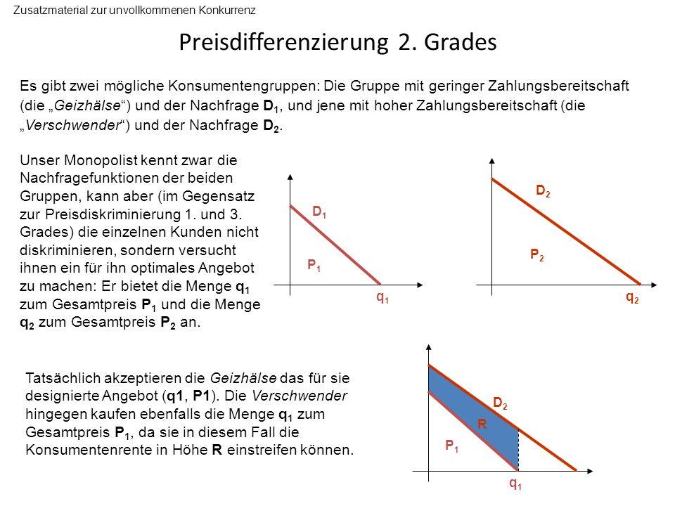 Preisdifferenzierung 2. Grades