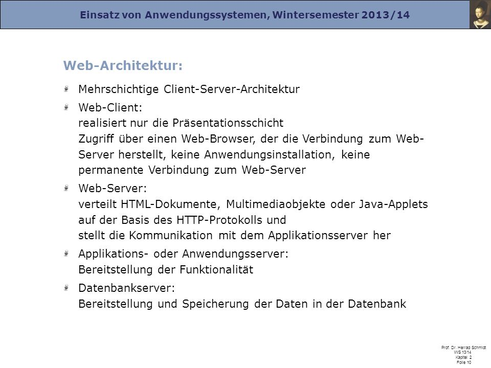 Web-Architektur: Mehrschichtige Client-Server-Architektur