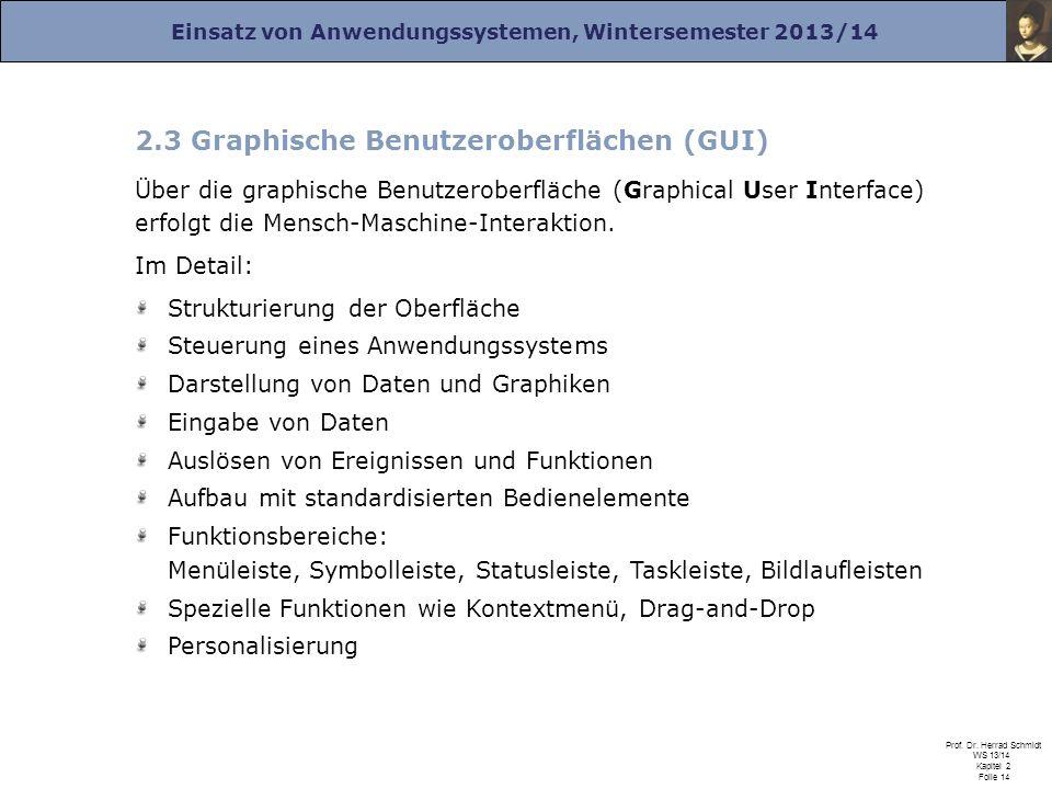 2.3 Graphische Benutzeroberflächen (GUI)