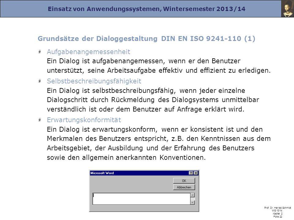 Grundsätze der Dialoggestaltung DIN EN ISO 9241-110 (1)