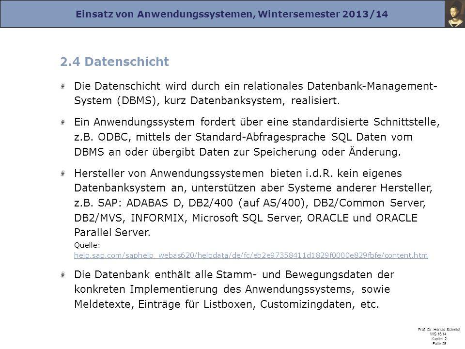 2.4 Datenschicht Die Datenschicht wird durch ein relationales Datenbank-Management- System (DBMS), kurz Datenbanksystem, realisiert.