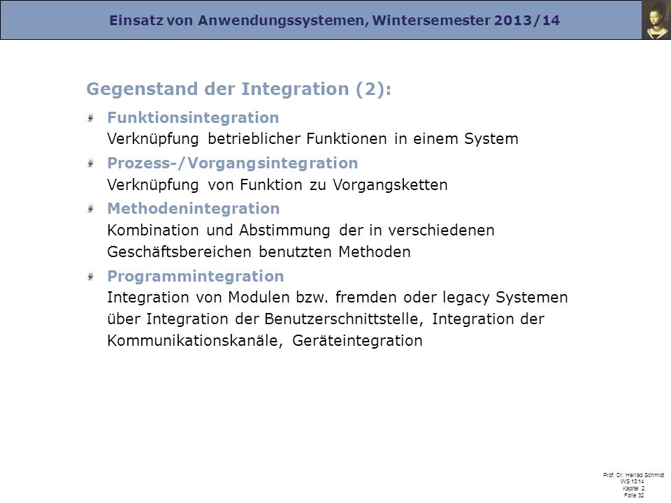 Gegenstand der Integration (2):