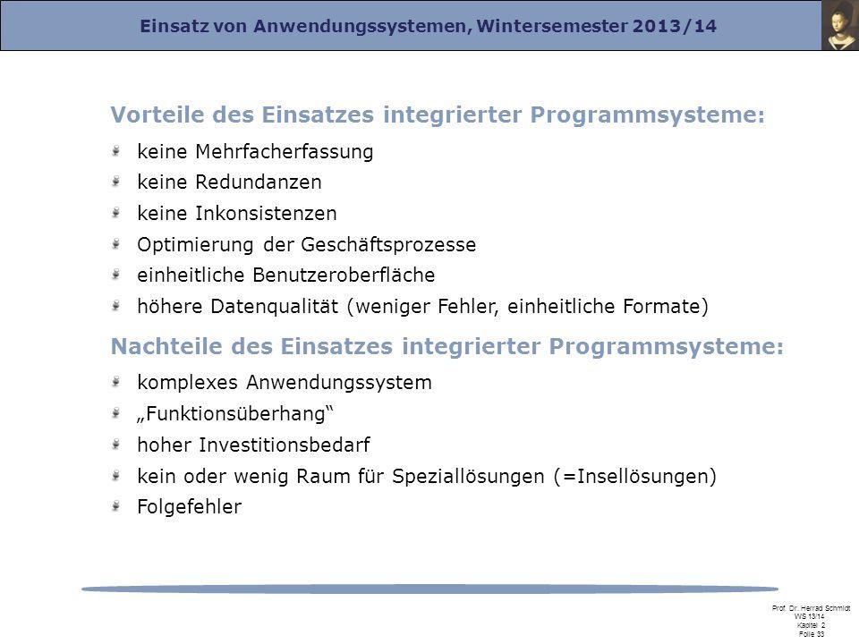 Vorteile des Einsatzes integrierter Programmsysteme: